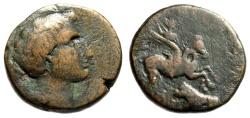 "Ancient Coins - Corinthia, Corinth AE19 ""Bellerophon on Pegasus, Killing Chimera"" Rare Fine"