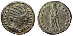"""Ancient Coins - Fausta (Wife of Constantine I The Great) AE20 """"Holding Infants"""" Cyzicus gVF"""
