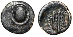 "Ancient Coins - Boeotia, Federal Coinage AE 13 ""Boeotian Shield & Trident, Dolphin"" Good Fine"