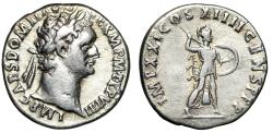 "Ancient Coins - Domitian AR Denarius ""Portrait & Minerva"" Rome 89 AD Near VF"