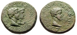 "Ancient Coins - Augustus & Rhoemetalkes I AE23 ""King & Queen Pythodoris"" Thrace 11BC-12 AD"