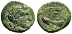 "Ancient Coins - Sikyonia, Sikyon AE17 ""Apollo & Dove Flying"" Kleander Magistrate Scarce"