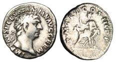 "Ancient Coins - Trajan Silver Denarius ""Abundantia Seated"" Rome 100 AD RIC 32 var"