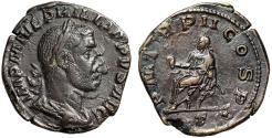 """Ancient Coins - Philip I AE Sestertius """"Emperor on Curule Chair"""" Rome 245 AD Good VF"""