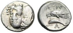 "Ancient Coins - Moesia, Istros AR Drachm ""Male Heads, One Inverted & Eagle on Dolphin"" Fine"