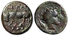 "Ancient Coins - Sicily, Gela AE Trias ""Bull Standing & Horned Gelas"" Fine"