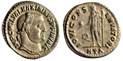 "Ancient Coins - Maximinus II Daia Silvered Follis ""Jupiter, Wreath"" Heraclea 312 AD RIC 66 gVF"