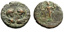 """Ancient Coins - Septimius Severus & Caracalla AE21 """"Confronted Busts & Poseidon"""" 198-211 AD Phoenicia"""