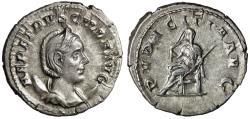 """Ancient Coins - Herennia Etruscilla AR Antoninianus """"Pudicitia Seated"""" Rome RIC 59b gVF"""