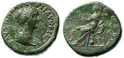 """Ancient Coins - Faustina II Junior AE Sestertius """"Concordia Seated on Cornucopiae"""" RIC 1374 VF"""