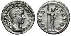 "Ancient Coins - Gordian III AR Denarius ""IOVIS STATORI Jupiter, Thunderbolt"" Rome 240 AD VF"