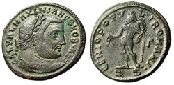 """Ancient Coins - Galerius Caesar AE Follis """"GENIO POPVLI ROMANI Genius"""" Thessalonica RIC 26b VF"""