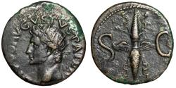 "Ancient Coins - Augustus Posthumous AE As ""Radiate Bust & Large Winged Thunderbolt"" Good VF"