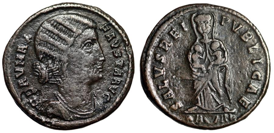 """Ancient Coins - Fausta (Wife of Constantine) AE20 """"Empress Facing, Two Infants"""" Arles Very Rare"""