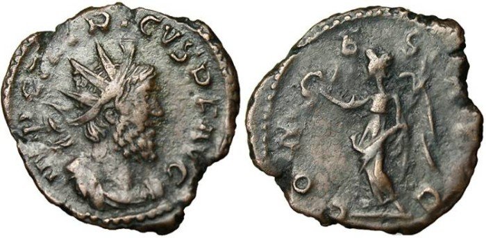 """Ancient Coins - Tetricus I, AE Ant. """"COMES AVG Victory Wreath"""" Vienna Mint VF!"""