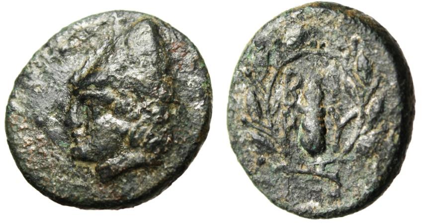 "Ancient Coins - Troas Birytis AE20 ""Kabeiros in Cap & Club in Wreath"" Scarcer Large Denomination"
