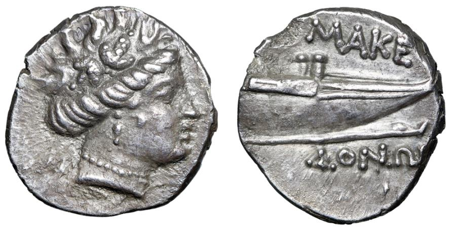 "Ancient Coins - Macedonia: Philip V to Persues AR Tetrobol ""Maenad & Prow of Galley"" EF"