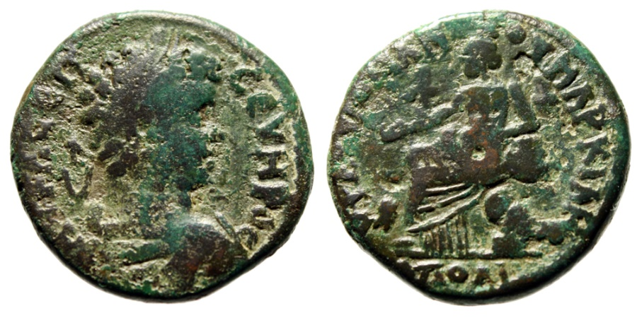 """Ancient Coins - Septimius Severus AE28 """"Kybele (Cybele) Seated, Drum & Lion"""" Markianopolis"""