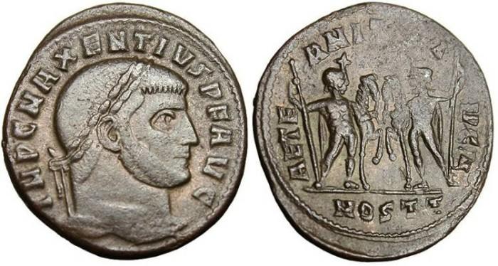 """Ancient Coins - Maxentius, AE Follis """"AETERNITAS AVG N Castor & Pollux"""" Ostia RIC 35"""