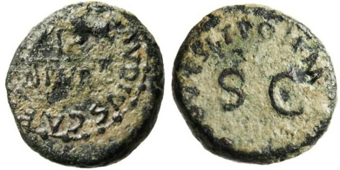 "Ancient Coins - Claudius I Quadrans ""Hand Holding Scales PNR"" Rome RIC 85"