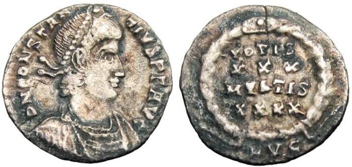 """Ancient Coins - Constantius II, AR Siliqua """"VOTIS XXX MVLTIS XXXX"""" Lyons RIC 216"""