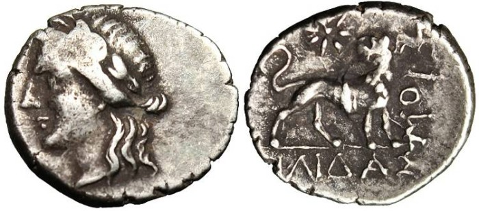"Ancient Coins - Ionia, Miletos 1 1/2 Drachm ""Apollo Left & Lion Right"" VF RARE Variant!"