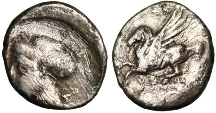 """Ancient Coins - Corinthia, Corinth AR Drachm """"Pegsos & Aphrodite"""" BCD Corinth 169"""