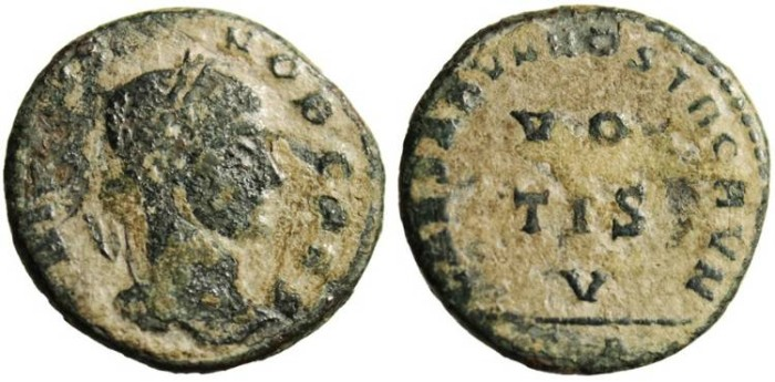"Ancient Coins - Crispus ""CAESARVM NOSTRORVM Around VO TIS V"" Arles Mint RARE R4 RIC 210"