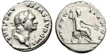 """Ancient Coins - Vespasian Silver Denarius """"PONTIF MAXIM Curule Chair"""" Rome 73 AD RIC 564 Good VF"""