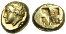 "Ancient Coins - Ionia, Phokaia Electrum Hekte ""Head, Seal Below & Incuse Four Part Square"" gVF"