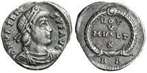 """Ancient Coins - Valens AR Siliqua """"VOT V MVLT X Within Wreath, RB"""" ROme 364-367 AD gVF"""