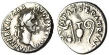 "Ancient Coins - Nerva Silver Denarius ""Sacrificial Implements"" Rome 96-98 AD RIC 34 Rare"