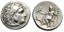 "Ancient Coins - Alexander III The Great AR Drachm ""Herakles & Zeus, Lion Leaping"" Magnesia nVF"