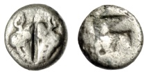 """Ancient Coins - Lesbos, Uncertain Silver 1/12 Stater """"Two Boar's Heads Confronted & Incuse"""" VF"""