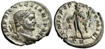 """Ancient Coins - Diocletian Silvered Follis """"Genius With Patera"""" Trier Mint RIC 170a Good VF"""
