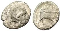 "Ancient Coins - Lucania, Thourioi (Thurium) Silver Diobol ""Athena in Helmet & Bull Butting"""