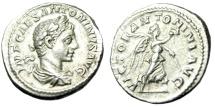 "Ancient Coins - Elagabalus Silver Denarius ""VICTOR ANTONINI AVG Victory"" Rome RIC 156 VF"