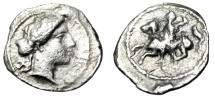"""Ancient Coins - Sicily, Morgantina Silver Litra """"Apollo & Horseman Galloping"""" Rare About VF"""