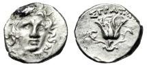 "Ancient Coins - Caria, Rhodes Silver AR Drachm ""Facing Helios & Rose"" Straton Magistrate Rare"