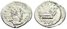 "Ancient Coins - Postumus Silver Antoninianus ""LAEITITA AVG Galley, Rowers"" Trier RIC 73 aVF"