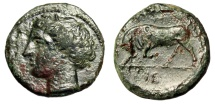 """Ancient Coins - King of Syracuse: Hieron II AE19 """"Kore & Bull Butting"""" 275-215 BC VF"""