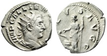 "Ancient Coins - Gallienus Silver Antoninianus ""SALVS AVGG Salus, Snake at Altar"" Rome RIC 397"