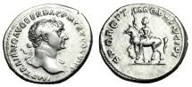 "Ancient Coins - Trajan Silver Denarius ""SPQR OPTIMO PRINCIPI Equestrian Statue"" Forum RIC 291 VF"