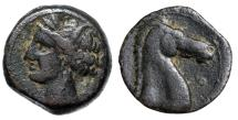 "Ancient Coins - Zeugitania, Carthage AE19 ""Wreathed Tanit & Horse Head, Annulet"" VF"