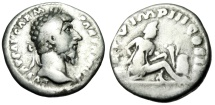 "Ancient Coins - Lucius Verus Silver Denarius ""Parthian Captive, Weapons"" Rome 165 AD RIC 540"