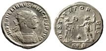 "Ancient Coins - Aurelian Silvered Antoninianus ""AVRELIANVS INVICTVS Legends"" Serdica Very Rare EF"