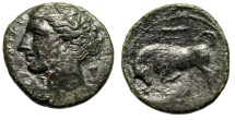 "Ancient Coins - Kingdom of Syracuse: Hieron II AE20 ""Kore, Grape Bunch & Bull Butting, Club"""