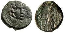 "Ancient Coins - Macedonia, Amphipolis AE21 ""Facing Winged Gorgoneion (Gorgon) & Athena"" aVF"