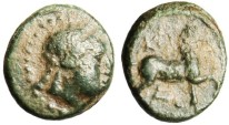 "Ancient Coins - Rare Aeolis Kyme AE12 ""Apollo & Horse Trotting"" Unpublished Mule?"