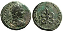 "Ancient Coins - Caracalla AE29 ""Agathedaemon, Coiled Serpent"" Thrace, Serdica Good Fine"